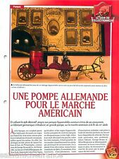 FICHE Pompes Hippomobiles Horse-drawn pumps Germany for USA Pompiers FIREFIGHTER