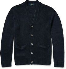 Polo Ralph Lauren Mens Knitted Linen V Neck Cardigan Sweater Navy Sz XL NWT $265