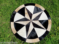 Star Cowhide Rug Cow Hide Skin Carpet Leather Round patchwork S69 area