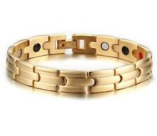 Women Men's Golf Bracelet 316L Stainless Steel Magnetic Therapy Gold New 8.26''