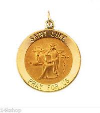 14k Gold Small  St St. Saint Luke Charm Medal Pendant .8g