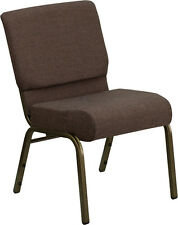 LOT OF 50 21'' WIDE BROWN FABRIC CHURCH CHAIRS WITH GOLD VEIN FRAME