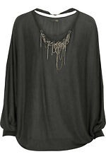 Blusa Top FENDI Collana Grigio 42 Grey M Necklace Batwing Blouse Jersey Crystal