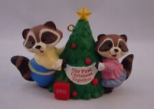 1993 Hallmark Our First Christmas Together Raccoons with Tree Ornament