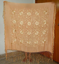 Antique belle chinois brodé soie piano shawl (PS95)