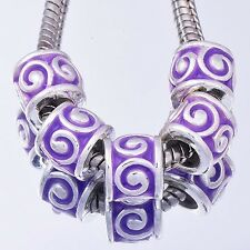 5PCS  GF/Silver Purple Enamel BEADS Lampwork Fit European DIY Bracelet D8326