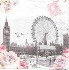 "3 Servietten Napkins London Big Ben Riesenrad ""Alte Briefmarke"" Retro #377"