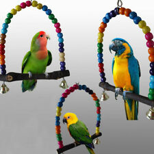 Colorful Wood Swing Bird Toy Parrot Cage Toys Parakeet Cockatiel Pet Supplier