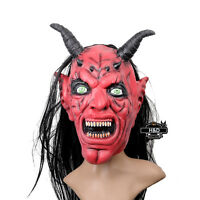 Halloween Scary Red Devil Horns Mask Adult Costume Horror Latex Party Cosplay