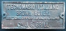 Fabrikschild builders plate brass Italiano Brown Boveri Vadoligure + J.G.Brill