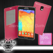 FOR GALAXY NOTE 3 III PAIR OPEN VIEW CASE COVER SCREEN PROTECTOR SLEEP MAGENTA
