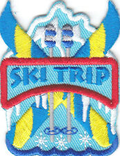 """SKI TRIP"" PATCH- Iron On Embroidered Applique-Ski, Winter Sports, Words ,Snow"