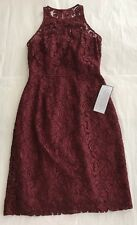 NEW J CREW Pamela Leaver Lace Dress #1743 Bridesmaid Red Dark Wine Size 00