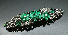 Emerald Green Diamante Wedding Crystal Hair Comb Clip Barrette 7cm Bridal