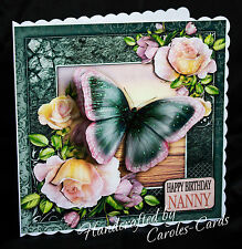 HANDMADE PERSONALISED FEMALE PINK/BLACK BUTTERFLY/BIRTHDAY/AGE GREETING CARD