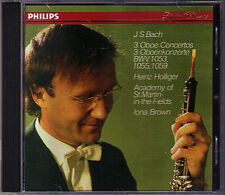 Heinz HOLLIGER: BACH 3 Oboe Concertos BWV 1053 1055 1059 IONA BROWN St Martin CD