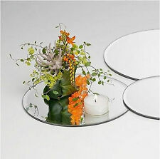 10 x GLASS ROUND MIRROR PLATES WEDDING TABLE 20CM  EF