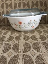 VINTAGE PYREX SPRING GARDEN CASSEROLE/ With Lid vegetable bowl made in ENGLAND