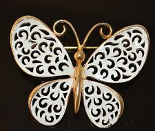 JJ White Enameled Gold Tone Metal  Butterfly Brooch Pin Scarf Pin