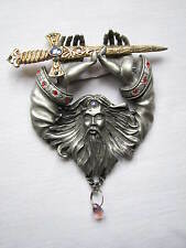 Vintage Pewter Large Signed JJ Jonelle Brooch Pin Merlin Wizard with Sword