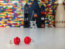 Pair Handmade MonkiStuff Red Stud Earrings made from LEGO® Bricks Halloween