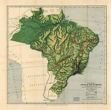 MAP ANTIQUE WELLS 1886 BRAZIL PHYSICAL OLD LARGE REPLICA POSTER PRINT PAM1351