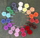 Colorful 20mm Resin Rose Flowers Cabochons 15 Colors Cameo Flat Back P227(5pcs)