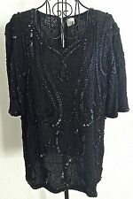 Vintage Joseph Le Bon Sequin Beaded Top Blouse 100% Silk Black Size M