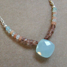 U&C Sundance Peach Moonstone, Andalusite & Chalcedony .925 Silver Chain Necklace