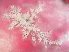 Embroidered 3D Applique Antique White Floral Sequin Patch Rhinestone Center 14""