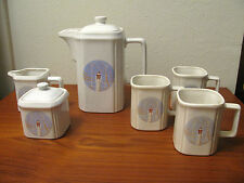 Vintage Art Deco w Lady Ceramic Pitcher Creamer Sugar Bowl Mugs Set