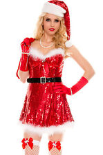 Sexy Red Sparkly Miss Santa Christmas Night Club Party Costume combo
