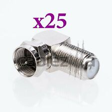 LOT x25 90 Degree Right Angle F Male Female Connector Adapter Coaxial RG6 RG59
