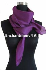"New Extra Large Square 44""x44"" Luxurious 100% Pure Silk Scarf Shawl, Purple"