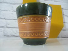 Mid century West German pottery planter green orange banded ceramic planter