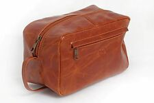WASH BAG TOILETRY /COSMETIC TRAVEL NEW LEATHER LARGE VINTAGE ANTIQUE STYLE