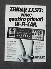 F901 - Advertising Pubblicità - 1983 - ZENDAR ZX 512 HI-FI CAR