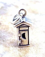 Sterling Silver Charm or Pendant - 3D OUTHOUSE   2346