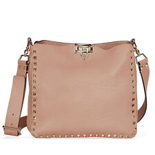 Valentino Rockstud Pebbled Leather Hobo Messenger Bag - Skin Color