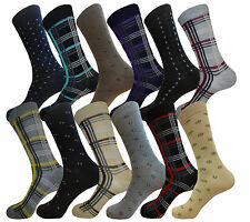 12 PK MENS DRESS SOCKS  FASHION SOCKS MIX DESIGN STRIPES COTTON SOCKS SIZE 10-13