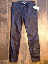 NWT ~ ADAM LEVINE black pleather faux leather pants ~ womens juniors 3 / 4