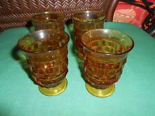 Beautiful American WHITEHALL Set of 4 Amber Footed Small Goblets / Glasses..