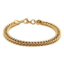 """MODOU 8.5"""" Luxury Mens Gold Tone Stainless Steel Curb Bracelets Wrist Chain NEW"""