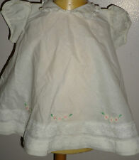 Darling Vintage White Lace Embroidered pink Floral Puff sleeve Baby Dress infant