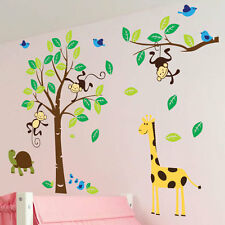 Monkey Tree Birds Animal Nursery Children Kids Art Wall Stickers Wall Decals 43
