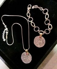 Rare Retired SET- BRIGHTON Necklace Devotion Doubloon COIN NECKLACE & BRACELET