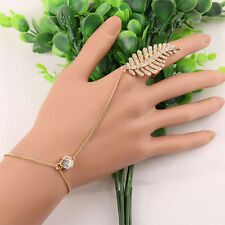 Fashion Gold Plated  Chain Leaves Bracelet Bangle Slave Finger Ring Hand Harness