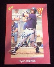 RYAN KLESKO 1991 CLASSIC ROOKIE RC Autographed Signed AUTO Baseball Card T53