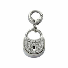 FOSSIL SILVER TONE PAVE CRYSTAL PADLOCK CUBIC ZIRCONIA  CHARM PENDANT JF00035040