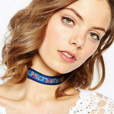 #Blue Vintage Ethnic Boho Embroidery Ribbon Flowers Choker Collar Necklace Lady